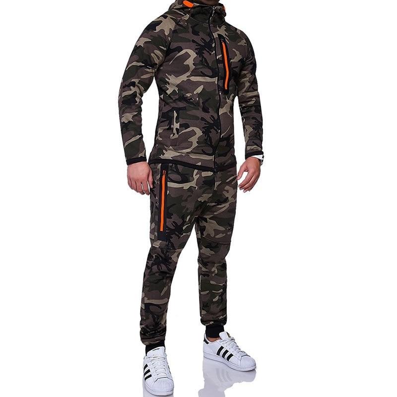 ZOGAA 2019 Spring Camouflage Hoodies Men Zipper Cardigan Hooded Sweatshirts Fashion Print Sportswear Men 39 s Slim Fit Tracksuit in Men 39 s Sets from Men 39 s Clothing