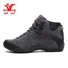 Xiang guan 2017 человек высокие брендовые Треккинговые ботинки открытый Сапоги и ботинки для девочек Пеший туризм походы Спортивная обувь из натуральной кожи Mountain Обувь Размер 39- 48