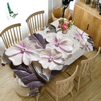 3D Embossed Flower Tablecloth Creative Colorful Wallflower Pattern Washable Thicken Rectangular Table Cloth for Wedding 3d white lily flowers pattern tablecloth wedding decoration thicken cloth round table cloth waterproof rectangular table cover