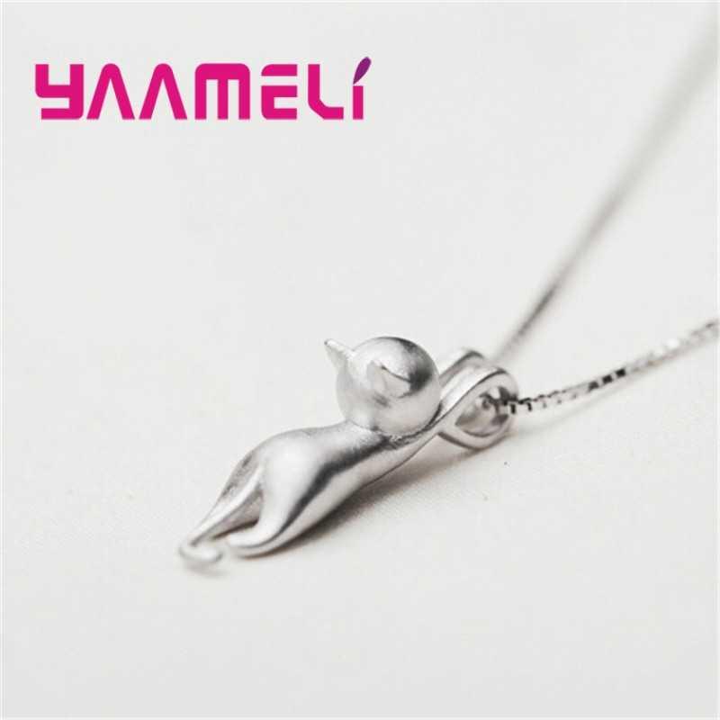Śmieszne dziewczyny śliczne biżuteria dla zwierząt wysokiej jakości moda kot kreskówkowy 925 srebro naszyjniki kobiety wisiorek biżuteria