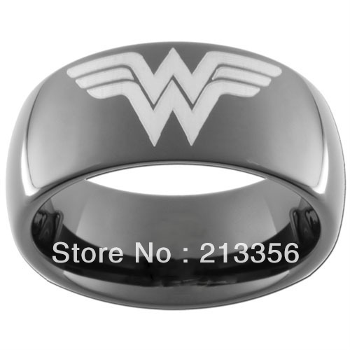 10PCS/LOT FREE SHIPPING!USA WHOLESALES CHEAP PRICE 8MM WOMEN&MENS HIS/HER BLACK DOME SUPER WONDER WOMAN TUNGSTEN WEDDING RINGS