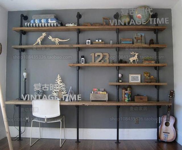ijzer industrile buiswand computer bureau boekenkast combinatie wandplank hout plank opbergrek