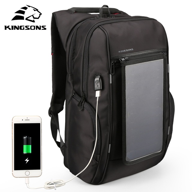 Kingsons Solar Panel Backpack Phone Usb Charger Bag For Travel 15 Inch Convenience Charging Laptop
