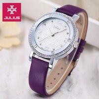 Saatler'ten Kadın Saatleri'de En Julius Bayan kadın Izle Zarif Rhinestone Moda Saatleri Lüks Saat Elbise Bilezik Deri kızın doğum günü hediyesi Kutusu