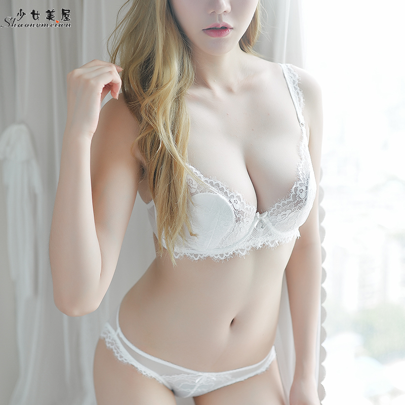 shaonvmeiwu Slim cup-shaped sexy eyelash lace thin   bra     set   lingerie   bra   size transparent