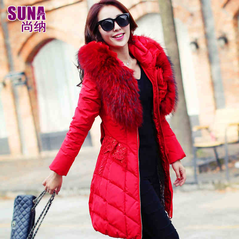 2015 New Winter Thicken Warm Woman down jacket Coat Parkas Outerwear Hooded Raccoon Fur collar Long Plus Size 2XXL Luxury Lace top ec mens winter thicken warm smalltand collar down jacket coat