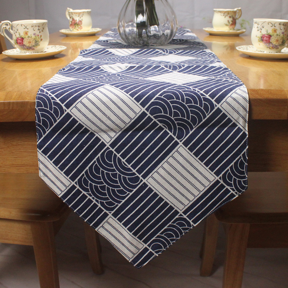 Classic Japanese Traditional Style Table Runner Decor Fish Scale / Sea Wave  / Plaid Pattern Printed Cotton Linen Table Runners