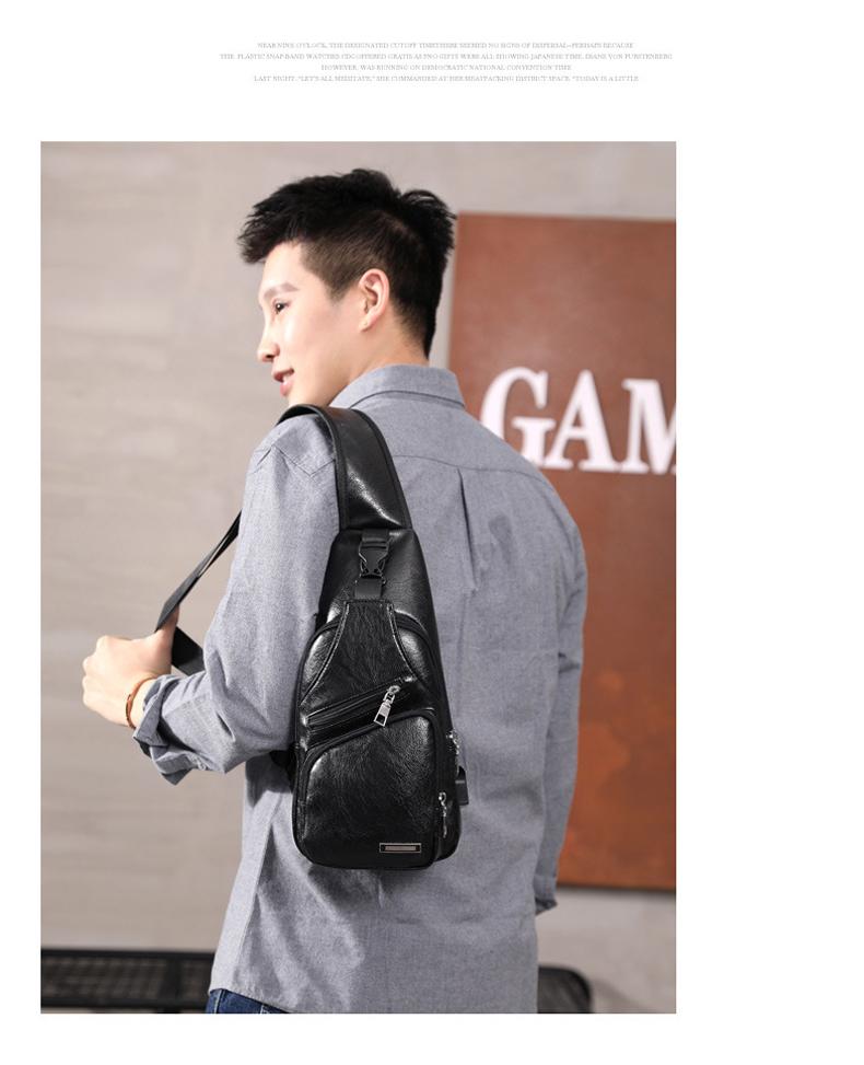 Men's Crossbody Bags Men's USB Chest Bag Designer Messenger bag Leather Shoulder Bags Diagonal Package 2019 new Back Pack Travel 13