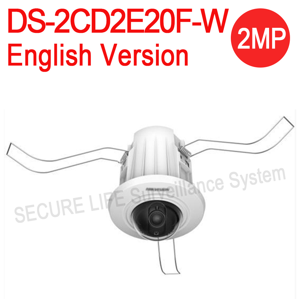 Free shipping English version DS-2CD2E20F-W 2MP Recessed Mount Dome IP CAMERA wifi, mini POE CCTV security camera dhl free shipping english version ds 7108ni e1 v w embedded mini wifi nvr poe 8ch for up to 6mp network ip camera