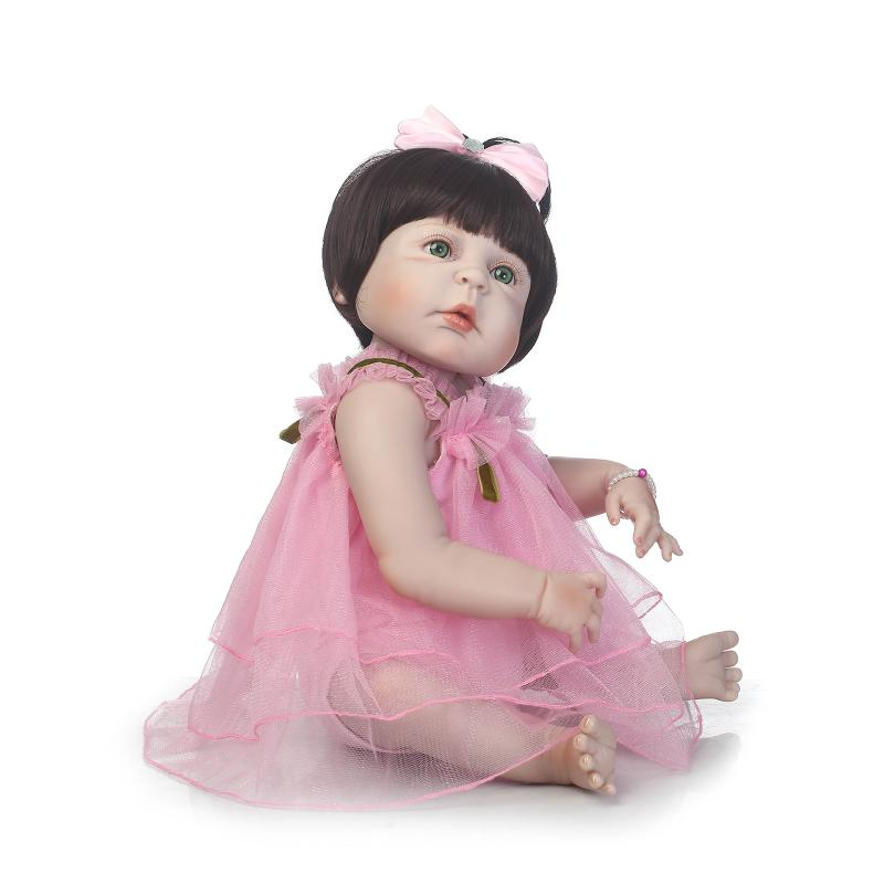 silicone reborn baby dolls girls 57cm pink dress with blue green brown eyes open russian doll toys for kid brinquedos birthday