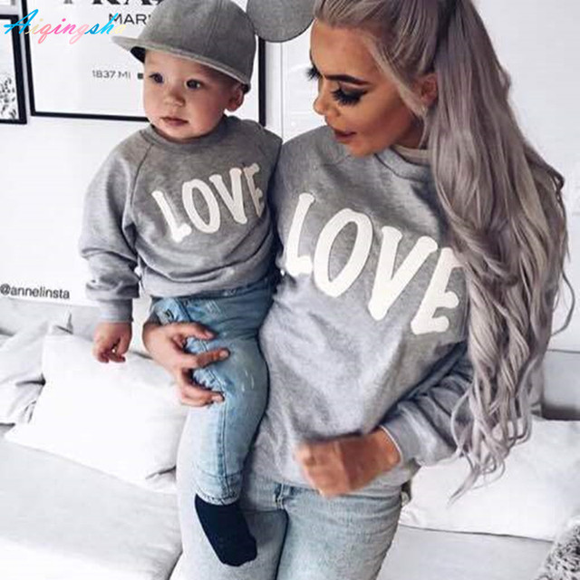 57c3f5eab74a 2017 Autumn Winter Family Matching Sweatshirt Sweaters Mom Mother ...