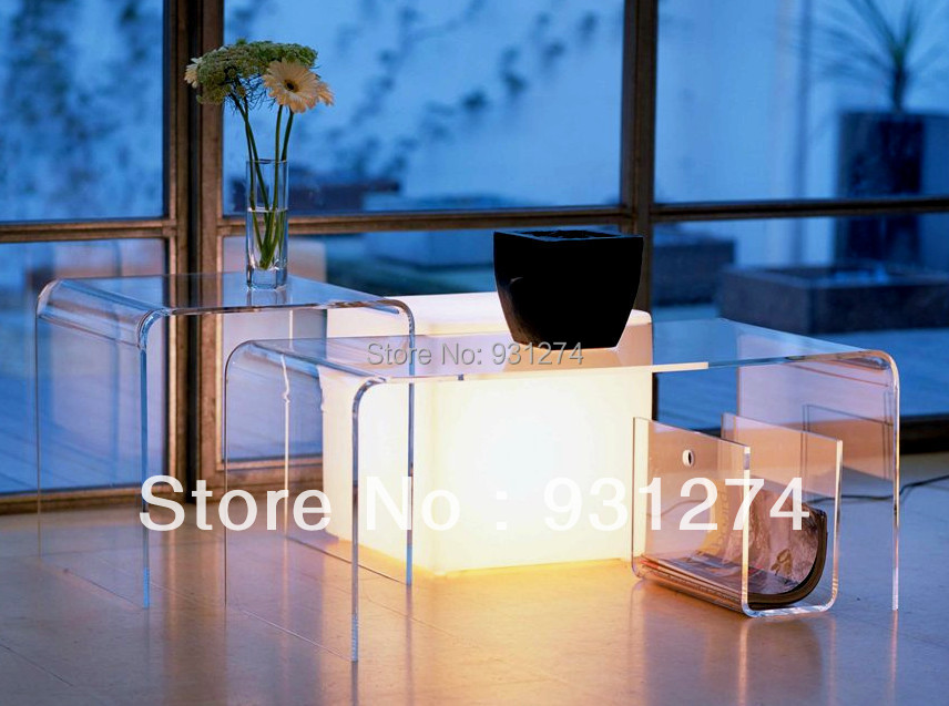 (3 pieces / lot) ONE LUX Waterfall Acrylic U table,Set of 3 clear coffee Tea Side Magazine Tables hot sale c shaped waterfall acrylic occasional side table