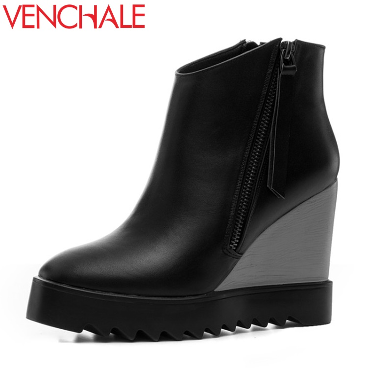 VENCHALE woman fashion ankle boots platform wedges high heel round toe zipper pumps heels women light party booties for winter strange heel women ankle boots genuine leather elastic booties wedge shoes woman high heels slip on women platform pumps