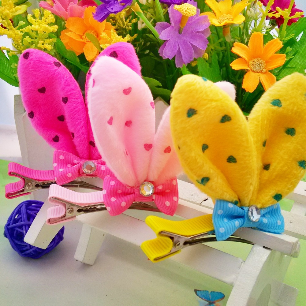 M MISM New Girls Hair Accessories Mul-color Cute Rabbit Ear Dot Hairpins Protective Well  Kids Lovely Hair Clip Hairgrips m mism girl cute hairball hairpins lovely colorful hairgrips kids accessories new arrival hair clips headwear best gift to kids