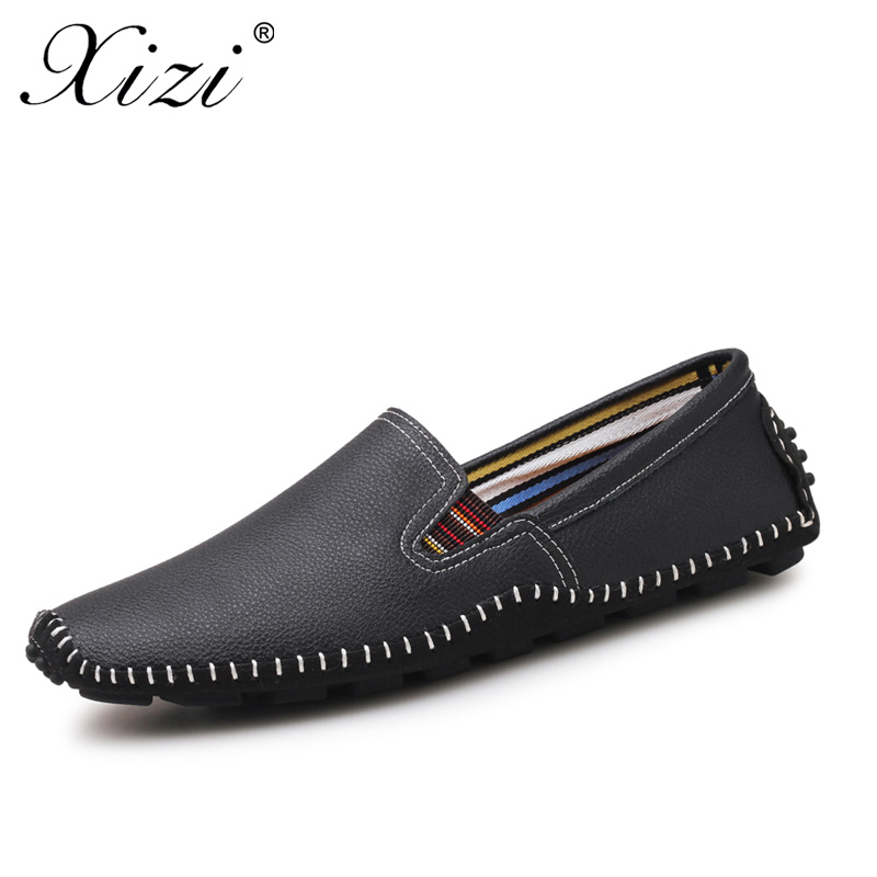 XIZI brand Men casual Flats shoes Genuine Leather Shoe Mens Loafers Moccasins Driving Shoes Male Fashion Slip On boat black shoe farvarwo genuine leather alligator crocodile shoes luxury men brand new fashion driving shoes men s casual flats slip on loafers