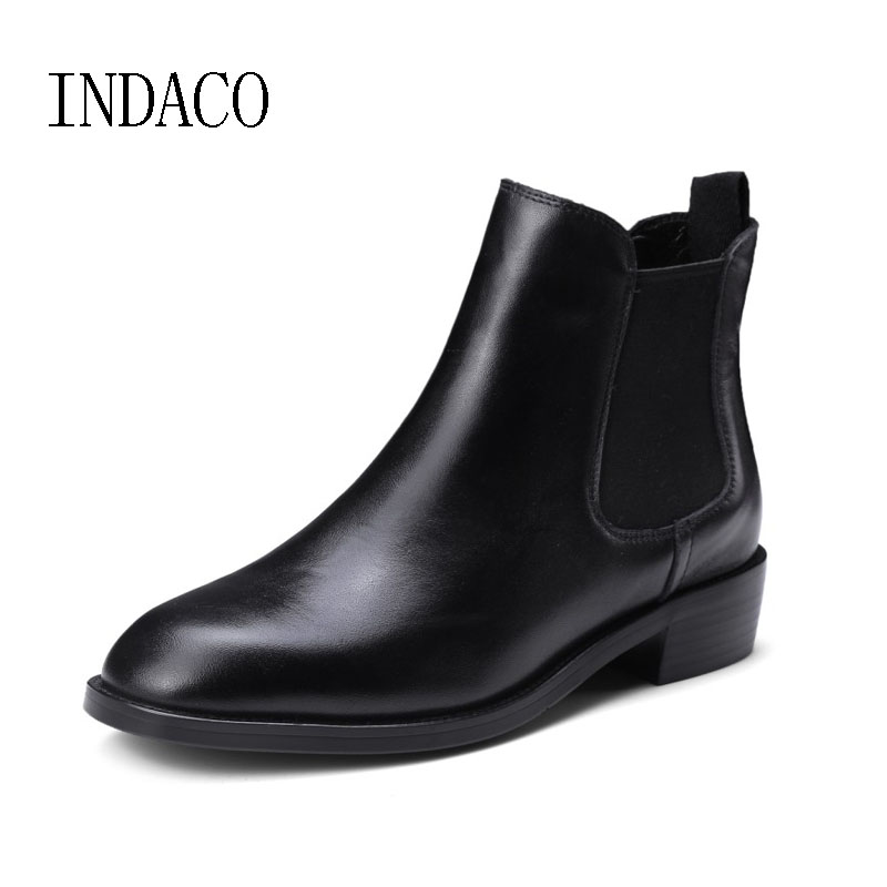 Women s Leather Boots Black Women s Winter Chelsea Boots Slip on Bottes Femmes Ankle Boots
