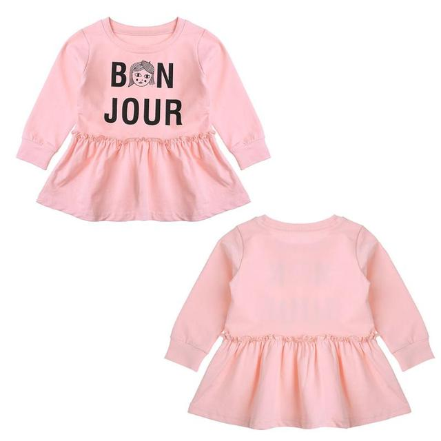 a08248c626c5 Autumn Baby Girls Long Sleeve Cartoon Party Dress Casual O-Neck Kids Dress  Girls Letter Print Princess Dress Cute Outfits