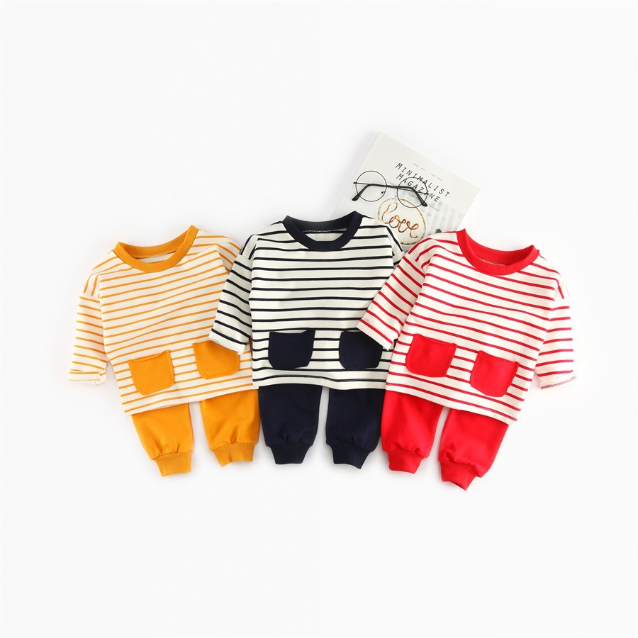 2018 Spring Infant Boys Baby Clothes Outfits Brand Cotton Striped Suit Baby Girls Clothing Pajamas Sports Suit 2pcs Sets