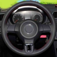 Car accessories Leather Hand stitched Car Steering Wheel Covers For Volkswagen Golf 6 Mk6 VW Polo MK5 2010 2013