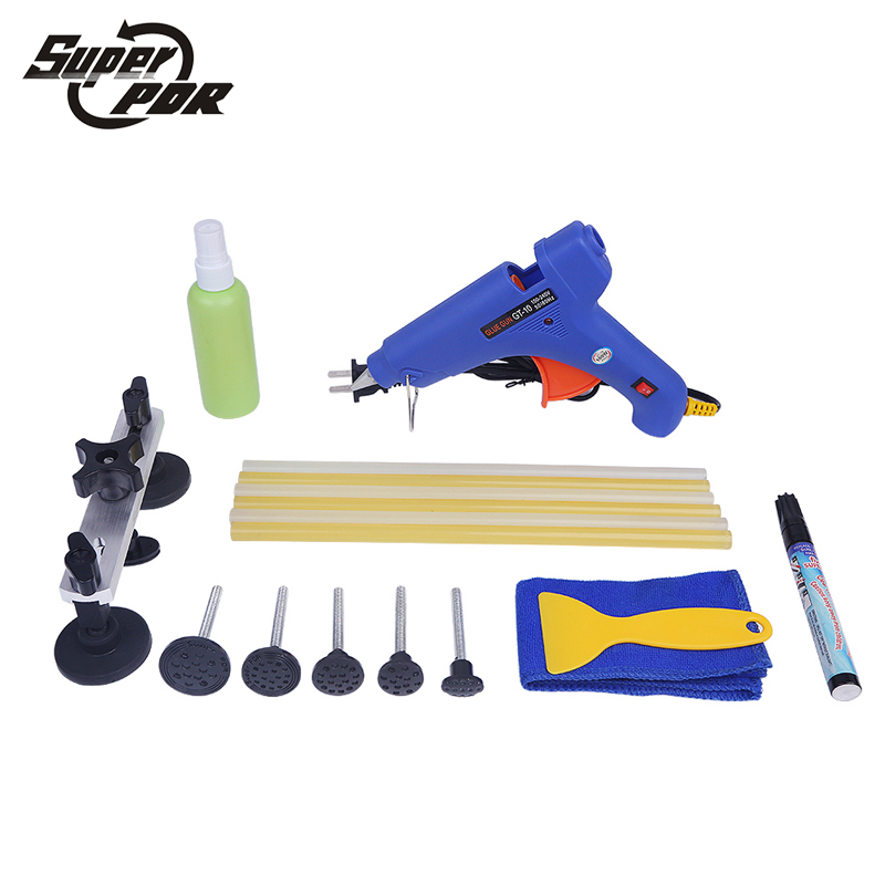 Super PDR Paintless Dent removal tool kit pulling bridge glue gun Scratches repair pen for car dent repair hand tools  super pdr car paintless dent removal tools kit dent lifter pulling bridge glue gun glue tabs 34 pc dent repair tool set