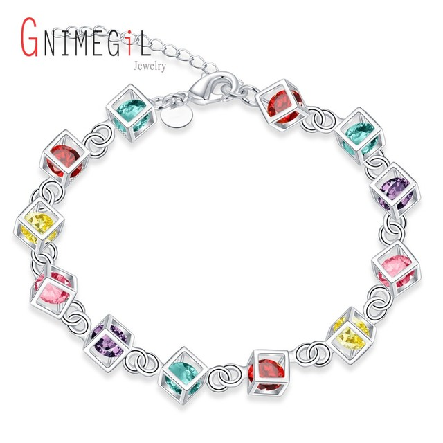 GNIMEGIL Brand Jewelry New Trendy Silver-Plated Creative Colored Stone Bracelets for Women Twisted Thick Chain Elegance Bijoux