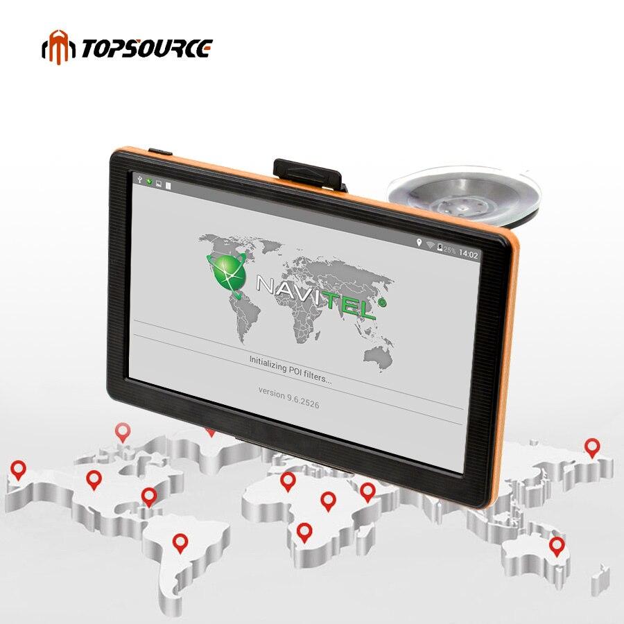 цена на TOPSOURCE Car GPS Navigation 7 Inch HD Capacitive Screen FM Transmitter Map For Europe/USA+Canada Truck Vehicle GPS Navigator