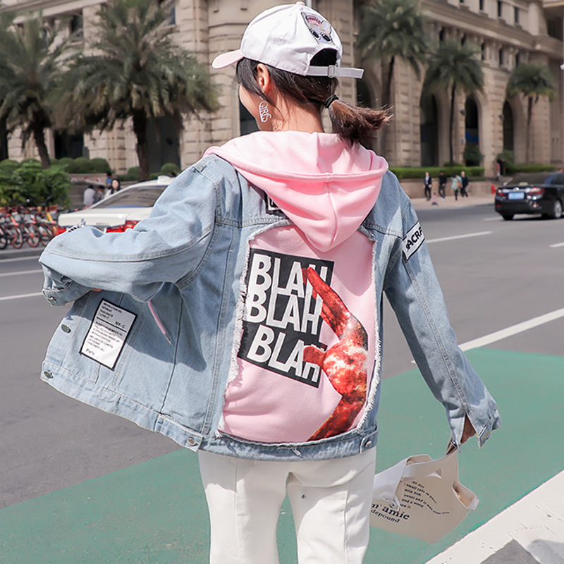 Fashion 2019 Spring New Denim   jacket   women Hooded coat Print Patch Designs Loose Denim coat Womens   Basic     Jackets   Streetwear Tide