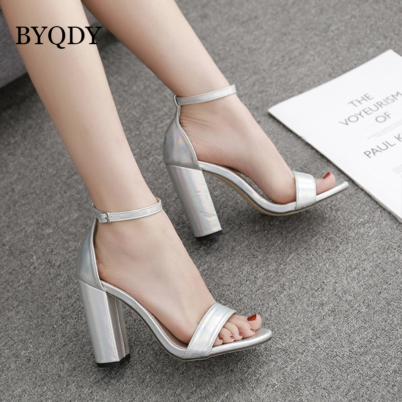 Ankle Strap Sandals Square High Heels