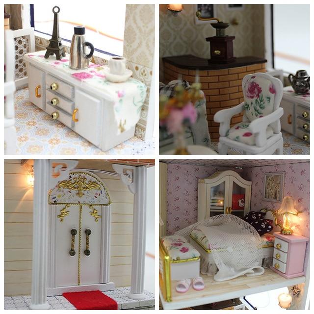 DIY Wooden Dolls house Miniatures Dollhouse 3D Handmade White Chocolate room English instruction&Furniture X'mas Gift