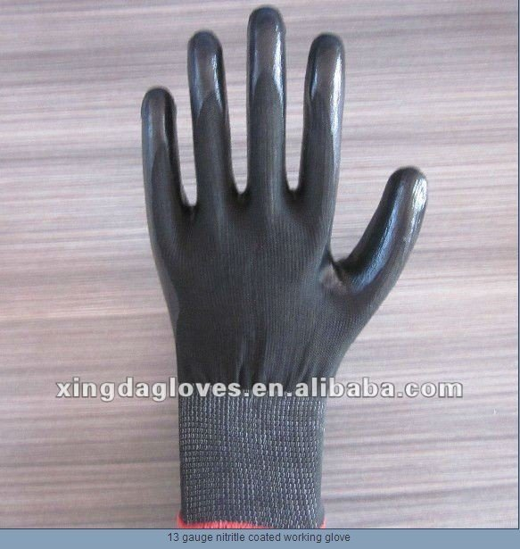 Free Shipping! Wholesale  12 Pairs/Dozen High Quality 13 Gauge  Black Nitrile Coated Working Gloves/Safety Protective Gloves/
