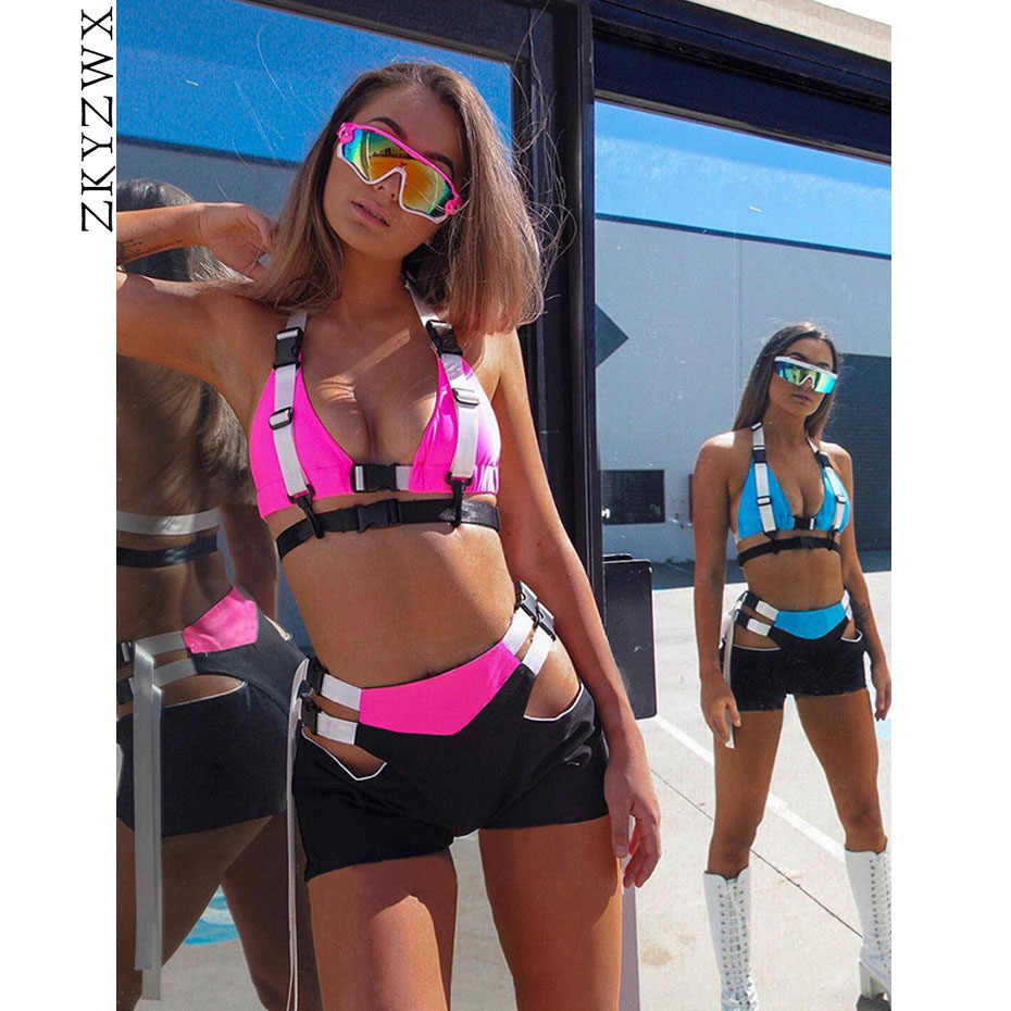 ZKYZWX Sexy Two Piece Set Women Summer Crop Top and Biker Shorts Matching Sets Festival Clothing Club Outfits 2pcs Short Set