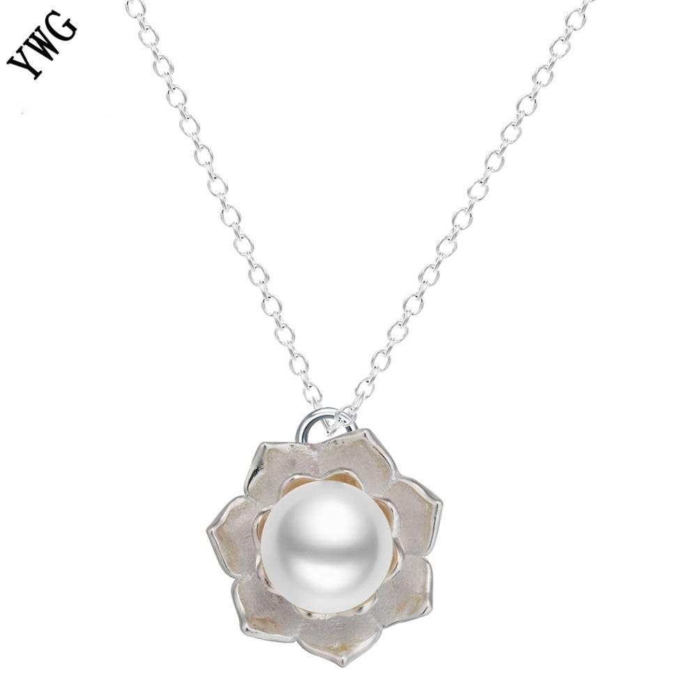 2017 Lotus Pearl Necklace Women S925 Silver Lotus Flower Pendant