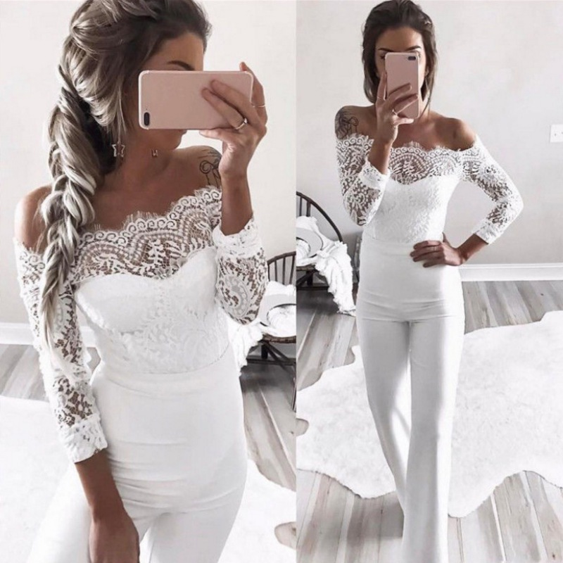 Fashion Summer Jumpsuits Women High Quality Lace Patchwork Embroidery Sexy Party Jumpsuit Rompers Ladies Bodysuits