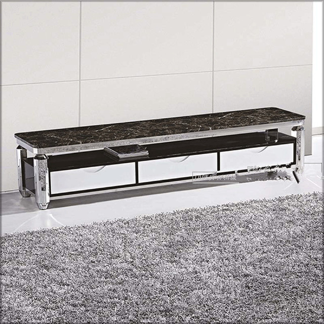 Modern Tv Stand Fashion And Durable Stainless Steel Cabinet Top With Marble Good