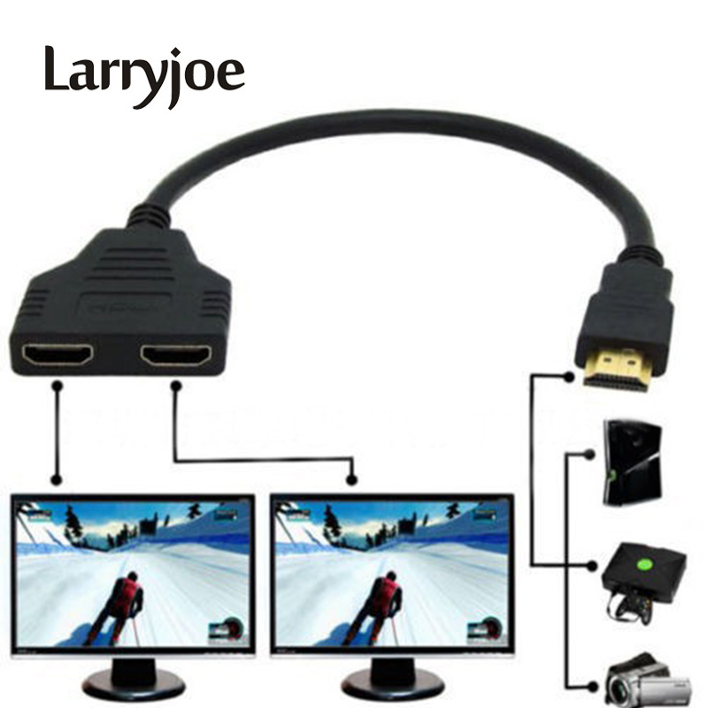 Larryjoe New Arrival Cable HDMI Splitter Cable 1 Male To Dual HDMI 2 Female Y Splitter Adapter in HDMI HD LED LCD TV 30cm(China)