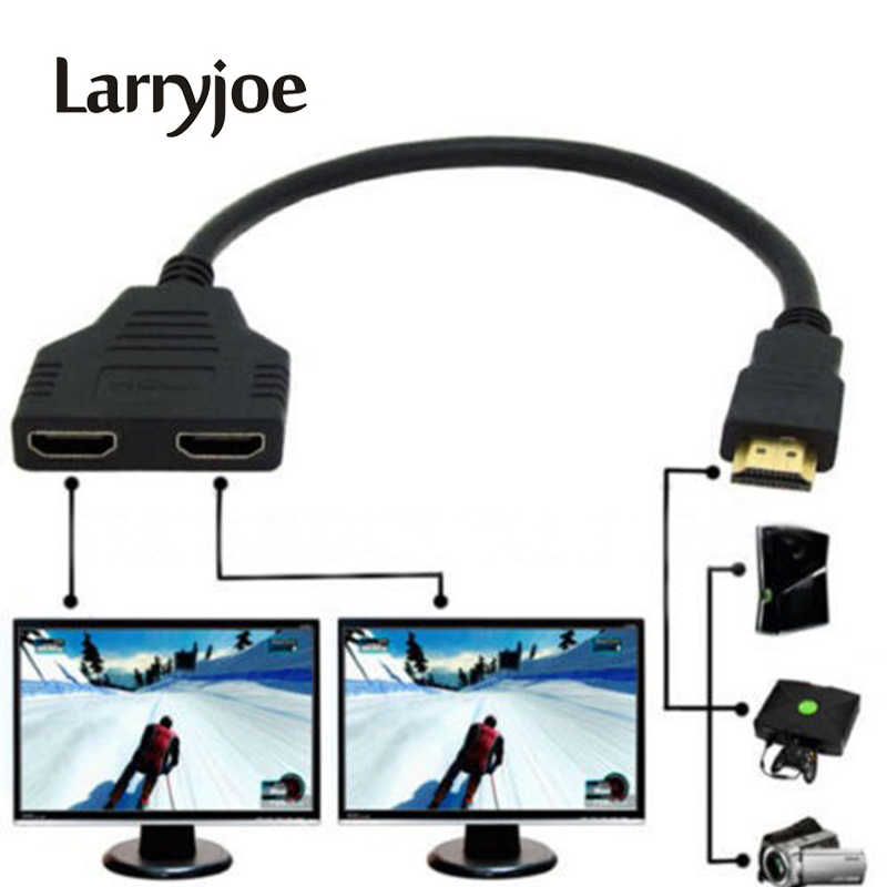 Larryjoe Nieuwe Collectie Kabel HDMI Splitter Kabel 1 Male Naar Dual HDMI 2 Female Y Splitter Adapter in HDMI HD LED LCD TV 30cm