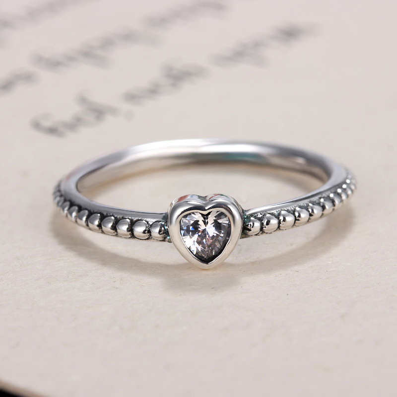 HOMOD Xmas Gift Silver Color Brand Finger Ring Love Heart Ring Original Wedding Jewelry Dropshipping