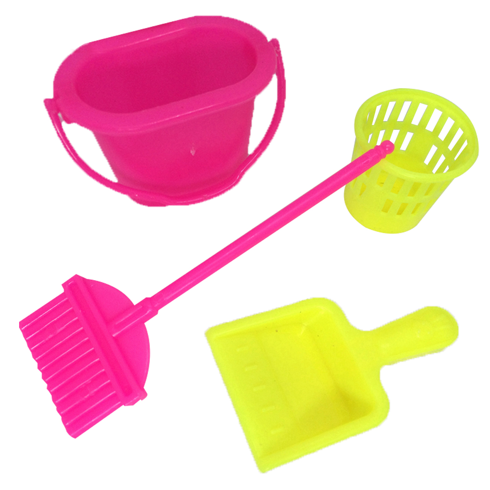 NK 4pcs/set Princess Doll Accessories Furniture Funny Toys Dolls Cleaning Kit For Barbie Dolls Household Cleaning Tool Child Toy