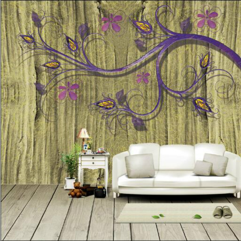 Wood stereo large mural 3D wallpaper flowers branches bedroom 3D wallpaper picture TV backdrop 3D wallpaper for walls custom baby wallpaper snow white and the seven dwarfs bedroom for the children s room mural backdrop stereoscopic 3d