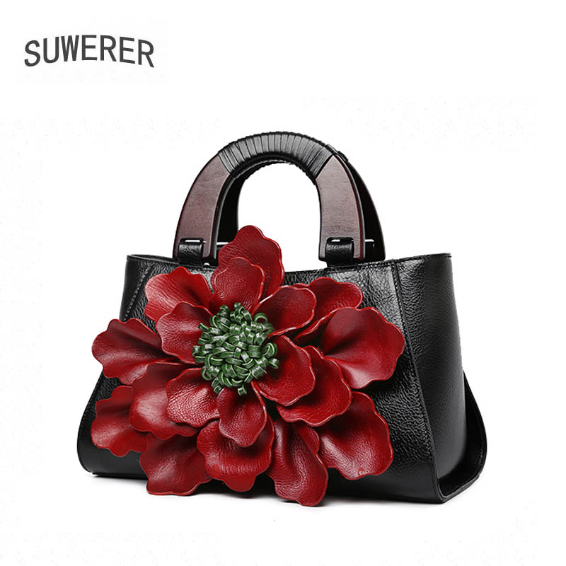 SUWERER 2018 New women genuine leather bag famous brands Handmade flower fashion top cowhide art bag tote women leather handbags 2018 new women bag genuine leather brands top quality cowhide chinese style embossed women handbags fashion leather tote bag