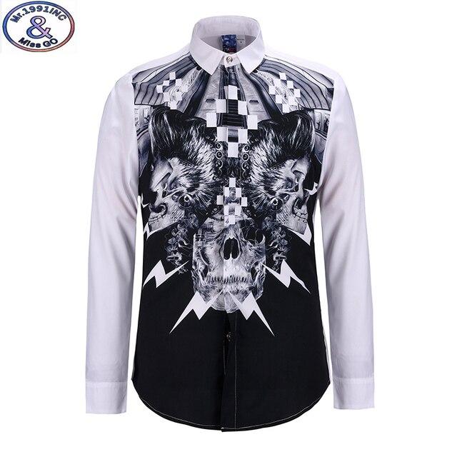 Mr.1991 youth fashion trend style Lightning Skull 3D printed shirts boys big kids 13-18 years long sleeve casual shirts teens S8