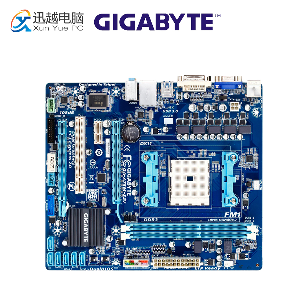 Gigabyte GA-A75M-S2V Desktop Motherboard A75M-S2V A75 Socket FM1 DDR3 SATA3 USB3.0 Micro ATX for gigabyte ga a75 d3h original used desktop motherboard for amd a75 socket fm1 for ddr3 sata3 usb3 0 atx
