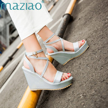 b70aae2f1cd MAZIAO High Heels Platform Sandals Women Fancy Ankle Strap Sandals Ladies  Shoes Summer Wedges Sandals Open