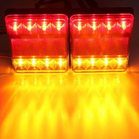 2pcs 12V 8 LED Car Rear Tail Light Brake Stop Turn Indicator Lamp Warning Amber Red
