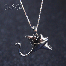 Jin&Ju Jewelry Ocean Fish Personalized Realistic Design Creature Animal Necklaces Pendants Manta Ray Silver Color