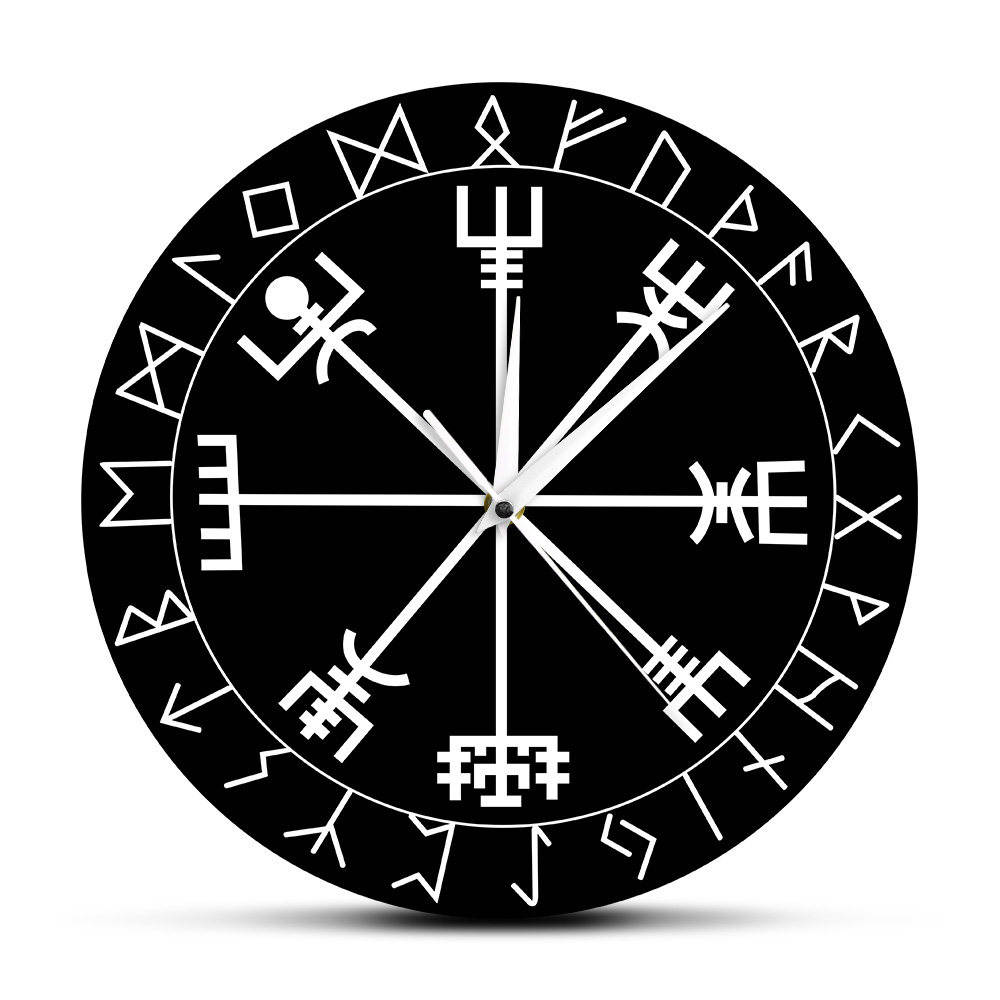 Norse Rune Compass Unique Quartz Wall Clock Vikings Vegvisir Symbol Runes Acrylic Wall Watch Gift For Him Vegvisir Compass Clock