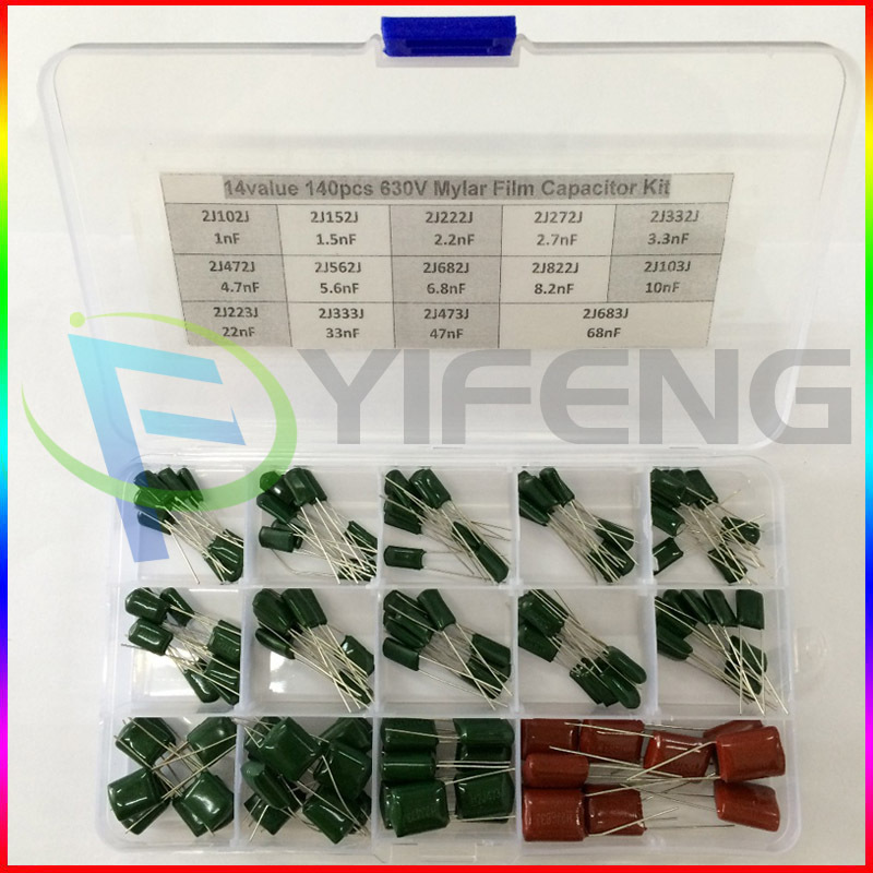 140PCS 14valuesX10pcs Mylar Film Capacitor Assorted Kit 630V 2J102J~2J683J 1nF~68nF Polyester Film Capacitor 2J222J 2J152J