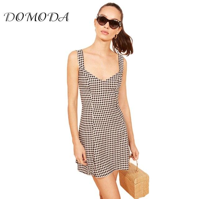 dd332bbe64c0 DOMODA Women Casual Basic Plaid Print Strap Slim Bodycon Mini Dress Sexy Plunge  Neck Backless Sleeveless A Line Dress