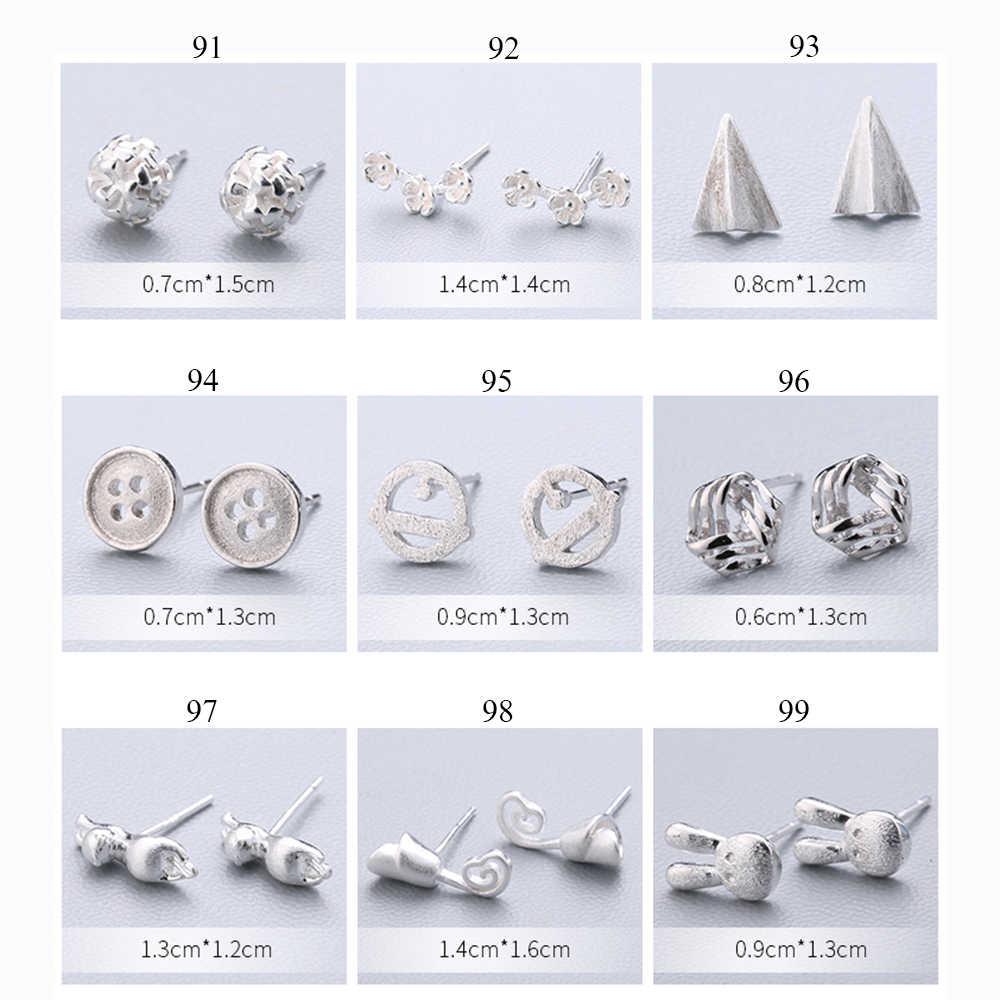 XIYANIKE ファッションジオメトリイヤリングホット販売 925 スターリングシルバーかわいいスタッドピアス耳針シンプルな人格女性のための 91- 108