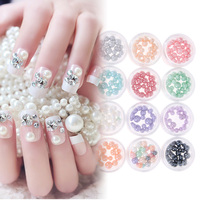 12 Box Set DIY 3D Pearls Colorful Beads Nail Art Tips Glitter Acrylic DIY Jewerly Craft